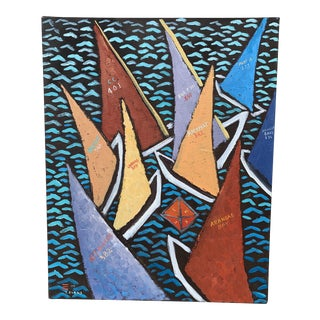 """2004 """"Zip Code Sailing"""" Oil Painting - 20""""x16"""" For Sale"""