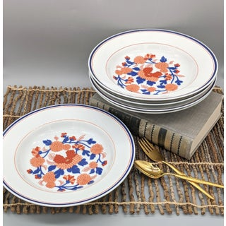 Fitz and Floyd Mandarin Garden White, Blue and Red Flower Bowls - Set of 5 Preview