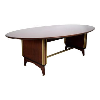 French Mid-Century Oval Dining or Conference Table