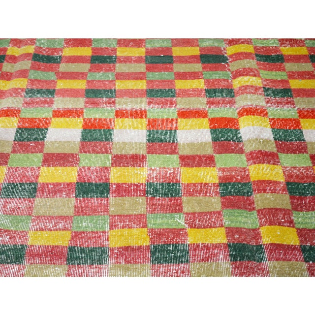 """Art Deco Vintage Turkish Anatolian Art Deco Hand Knotted Organic Wool Fine Weave Rug,7'1""""x10'7"""" For Sale - Image 3 of 7"""