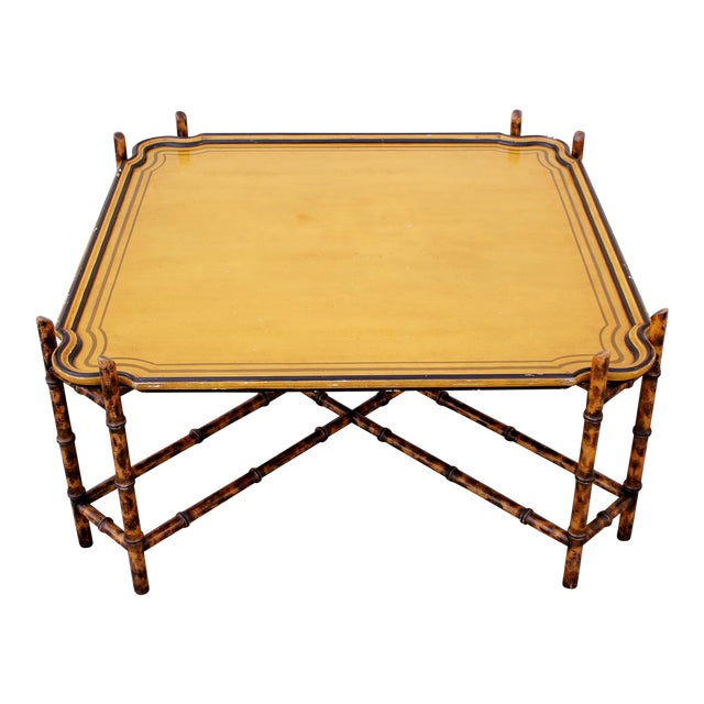 Baker Furniture Faux Bamboo Coffee Table For Sale