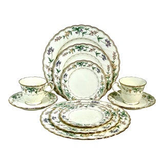 Noritake China Gold Rimmed Brookhollow Dishes 5 Piece Place Settings - 10 Piece Set For Sale