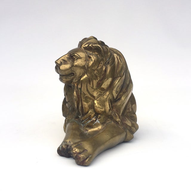 Brass Lion Figurine in Repose - Image 4 of 8