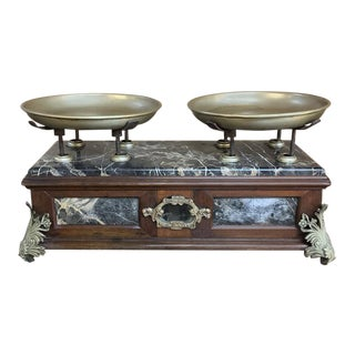 19th Century Italian Pharmacy Scales on Marble Base For Sale