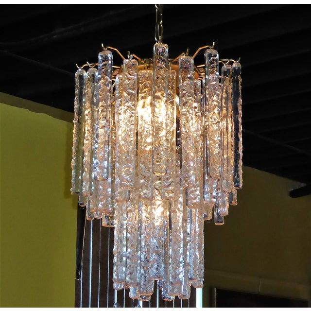 Gold 1960s Mid-Century Modern Mazzega Murano Textured Crystal Chandelier For Sale - Image 8 of 12