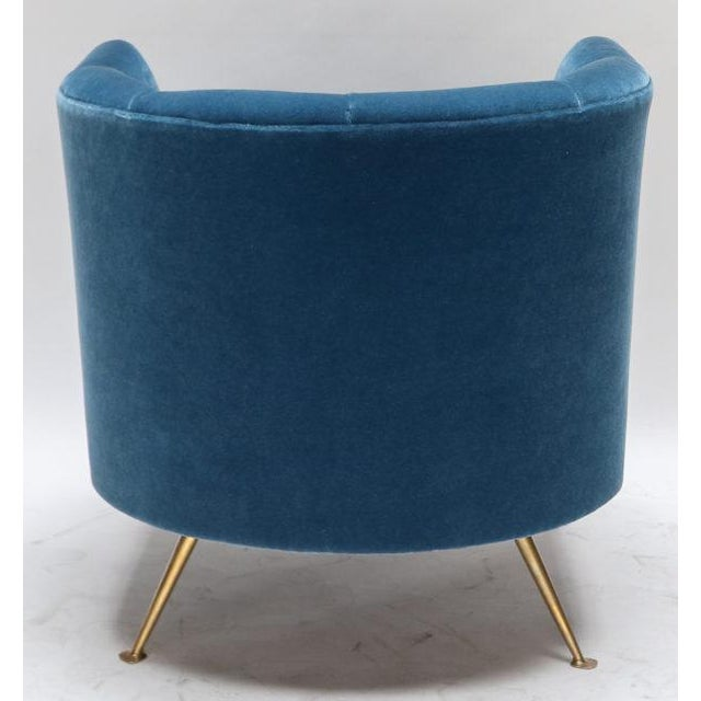 1960s Italian Lounge Chairs in Blue Mohair-A Pair For Sale - Image 4 of 9