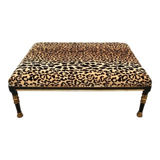Continental Large Coffee Table Ottoman With Leopard Print Velvet For Sale