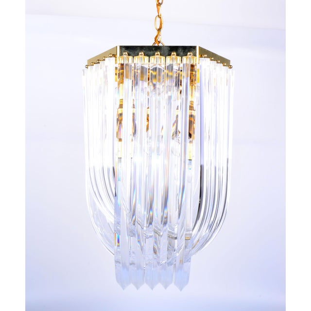 Lucite Ribbon Chandelier with Canopy - Image 10 of 10