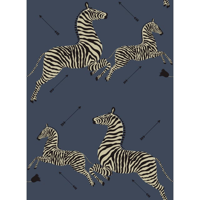 Transitional Red by Scalamandre Peel & Stick Wallpaper, Zebras, Denim For Sale - Image 3 of 3