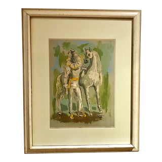 Mid-Century Modern Harlequin & Horse Painting by Leslie Larsson For Sale