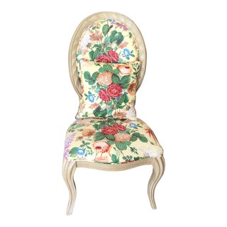 Bernhardt Hollywood Regency Floral Print Chairs For Sale