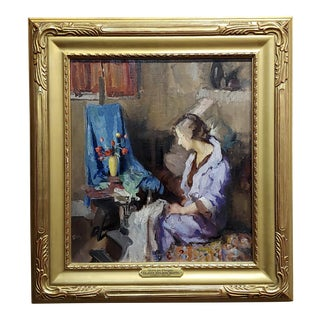 Gladys Nelson Smith - Woman in Purple Looking at Flowers- Beautiful Oil Painting For Sale