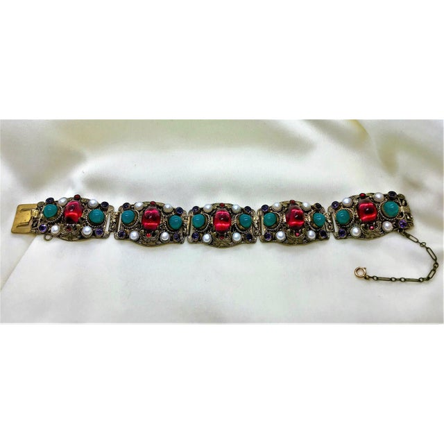 1940s Czech Austro-Hungarian Revival Jeweled Bracelet For Sale In Los Angeles - Image 6 of 9