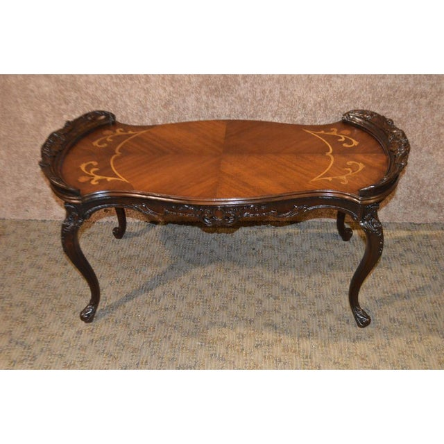 Vintage French Style Carved & Inlaid Petite Cocktail Table For Sale - Image 5 of 11