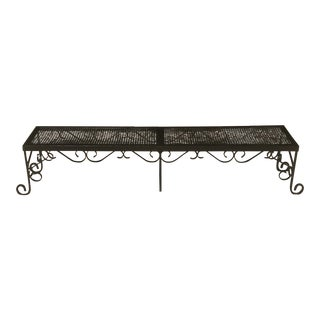 1940s Vintage Post War Wrought Iron Bench For Sale