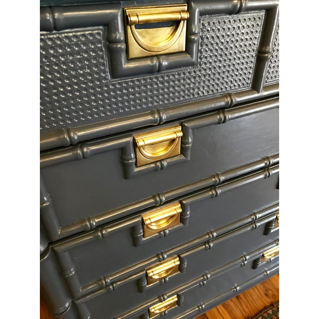 Hale Navy Blue Lacquered Faux Bamboo Highboy For Sale - Image 4 of 8