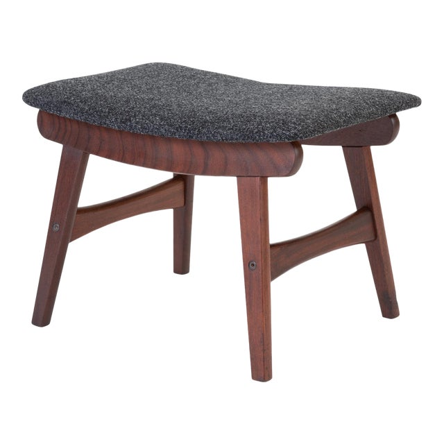 Scandinavian Modern Teak Ottoman With Upholstered Cushion For Sale