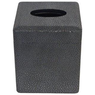 Italian Black Shagreen Tissue Box For Sale