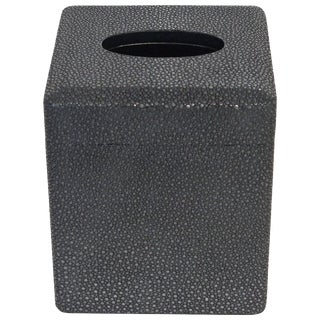 Italian Black Shagreen Tissue Box by Fabio Ltd For Sale