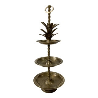 Vintage Brass Pineapple Tiered Serving Dish For Sale