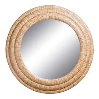 Mid-Century Modern Round Tessellated Wood Convex Mirror, Attr. To Maitland Smith For Sale