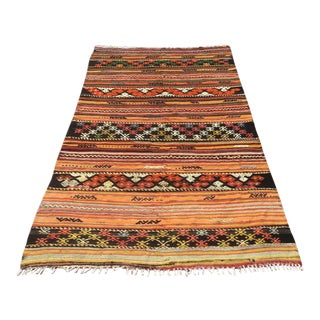 Rustic Striped Turkish Kilim Rug For Sale