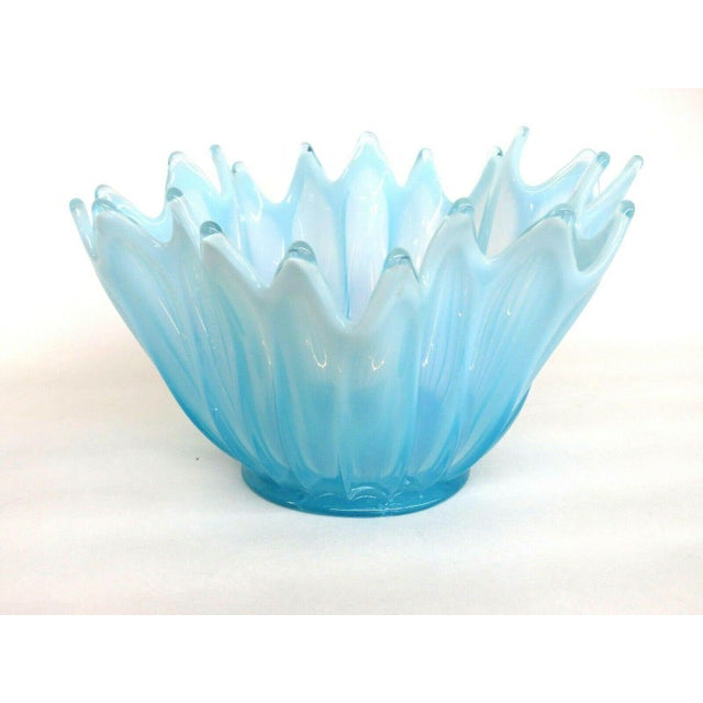 Glass Fostoria Heirloom Style Blue Opalescent Glass Crimped Handkerchief Bowl For Sale - Image 7 of 11