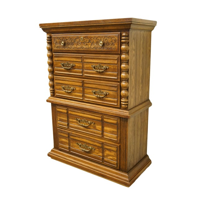 """Broyhill Furniture oak Mediterranean Tuscan style 39"""" chest on chest. We specialize in high end used furniture that we..."""