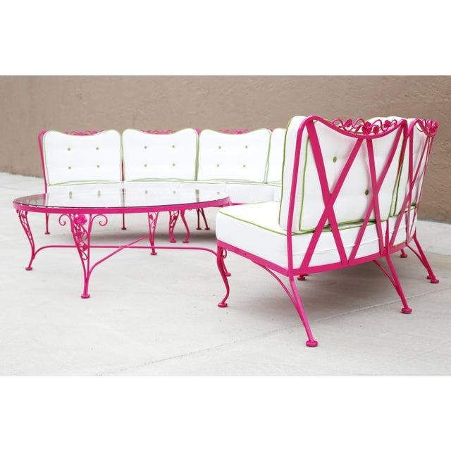 Woodard Chantilly Rose Professionally Restored 4-Piece Sectional and Cocktail Table - Image 8 of 13