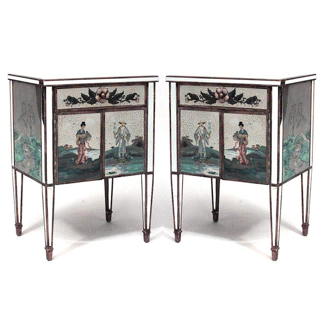 Glass Italian Mirrored Floral Bedside Commodes - a Pair For Sale - Image 7 of 7