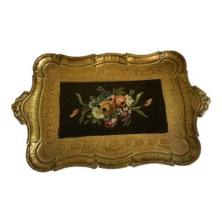 Midcentury Florentine Gold Floral Tray For Sale