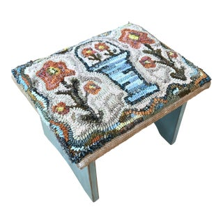 Artisan Hand-Hooked Rug Functional Art Footstool For Sale