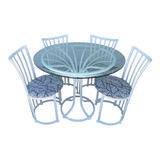 Modern Sculptural Indoor/Outdoor Dinette Table & 4 Chairs For Sale