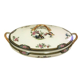 "Japanese Noritake Porcelain ""Pheasant"" Pattern Serving Dish With Lid Circa 1920's For Sale"