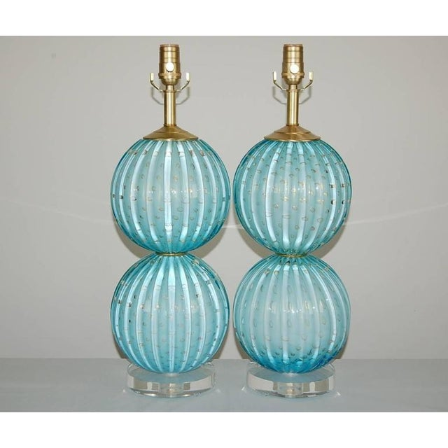 A ROBIN'S EGG BLUE or SKY BLUE - soft and magical, with such depth. Defined ribs, and controlled bubbles rimmed in GOLD!...