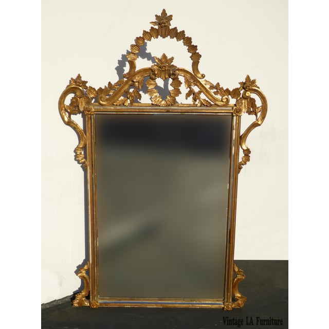 Large Vintage French Italian Rococo Ornately Carved Gold Gilt Wall Mantle Mirror Made in Italy - Image 2 of 11