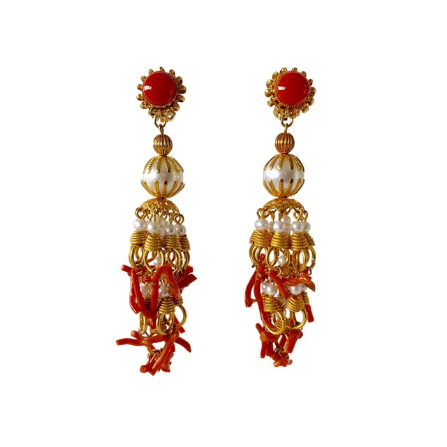 Vintage Pearl and Coral Chandelier Statement Earrings For Sale - Image 13 of 13