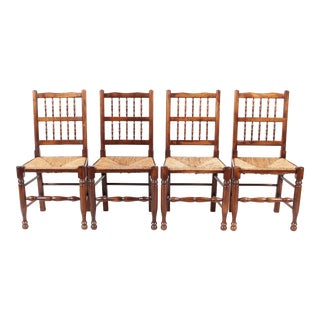 Set of 4 English Lancashire-Style Spindle Back Chairs For Sale
