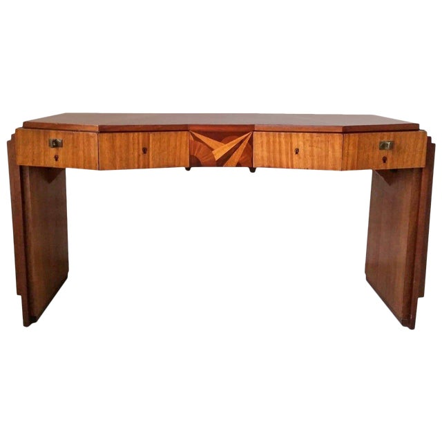 1920s Saddier French Art Deco Gull Wing Desk For Sale