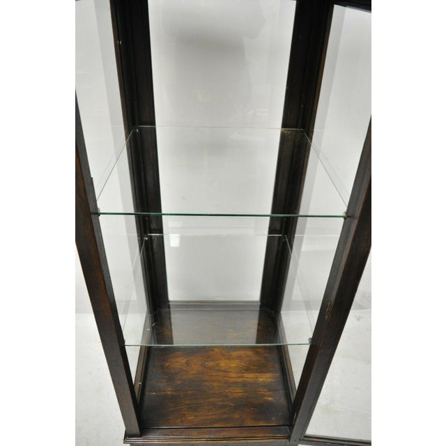 Late 20th Century Vintage Chinoiserie Pagoda Top Wooden Curio Display Cabinet Beehive Ming Legs For Sale - Image 5 of 11