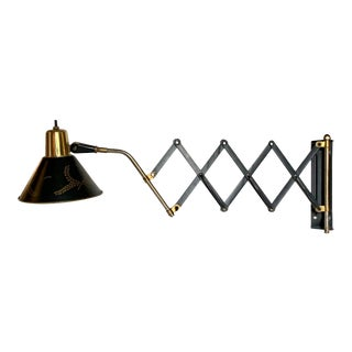 Early 20th Century Mid Century Tole Scissor Arm Adjustable Wall Lamp For Sale