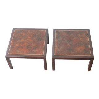 Pair of Low Slung Monteverdi Young Style Side Tables For Sale