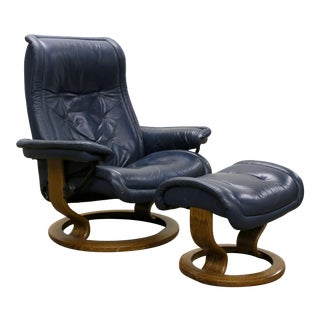 Ekornes Stressless Royal Blue Leather Recliner Chair & Ottoman For Sale