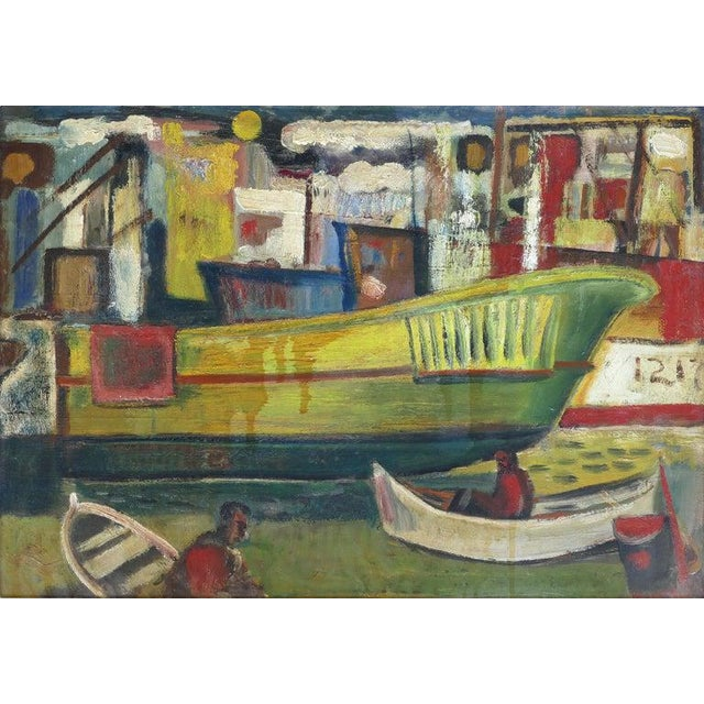Red 1960 Wpa Style Fishing Boatyard Oil Painting For Sale - Image 8 of 10