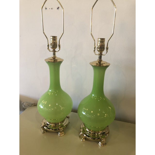 Vintage Paul Hanson Green Opaline Glass Brass Base Table Lamps - A Pair For Sale - Image 11 of 13