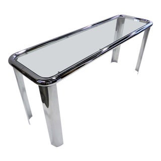 Tubular 1970s Chrome Aqnd Glass Console For Sale
