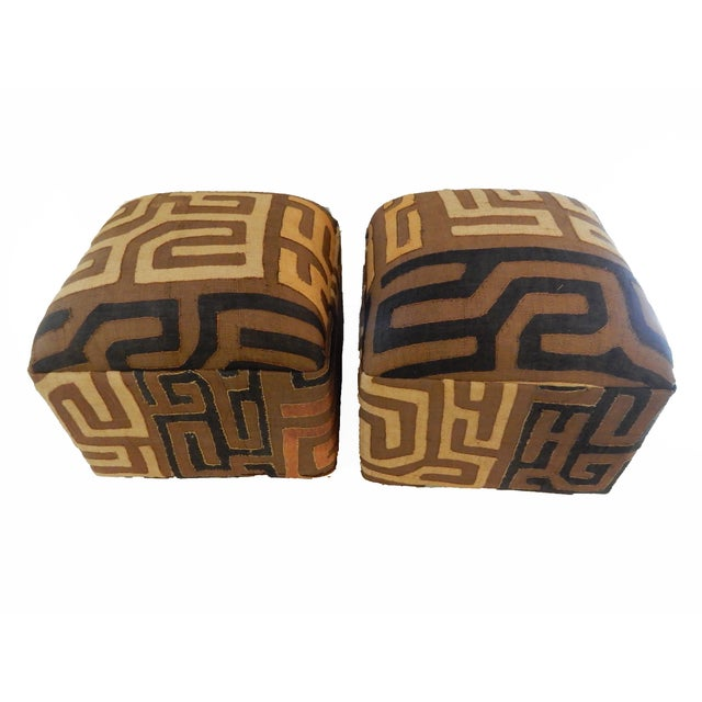 Upholstered Kuba Ottomans - a Pair - Image 1 of 6