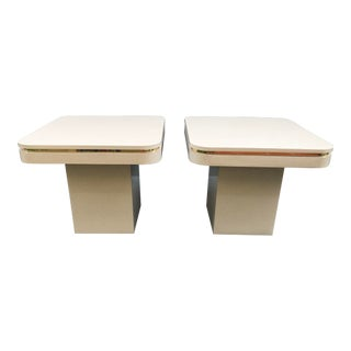 1980s Minimalist Brass and Laminate End Tables - a Pair For Sale
