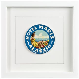 Framed Vintage Hotel Luggage Label - Hotel Maris Alassio