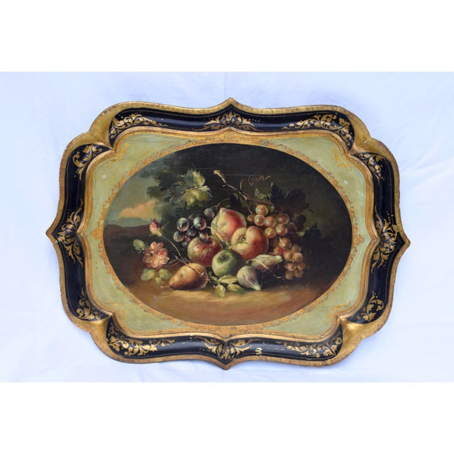 Blue Florentine Gilt Tole Fruits Motif Tray For Sale - Image 8 of 8